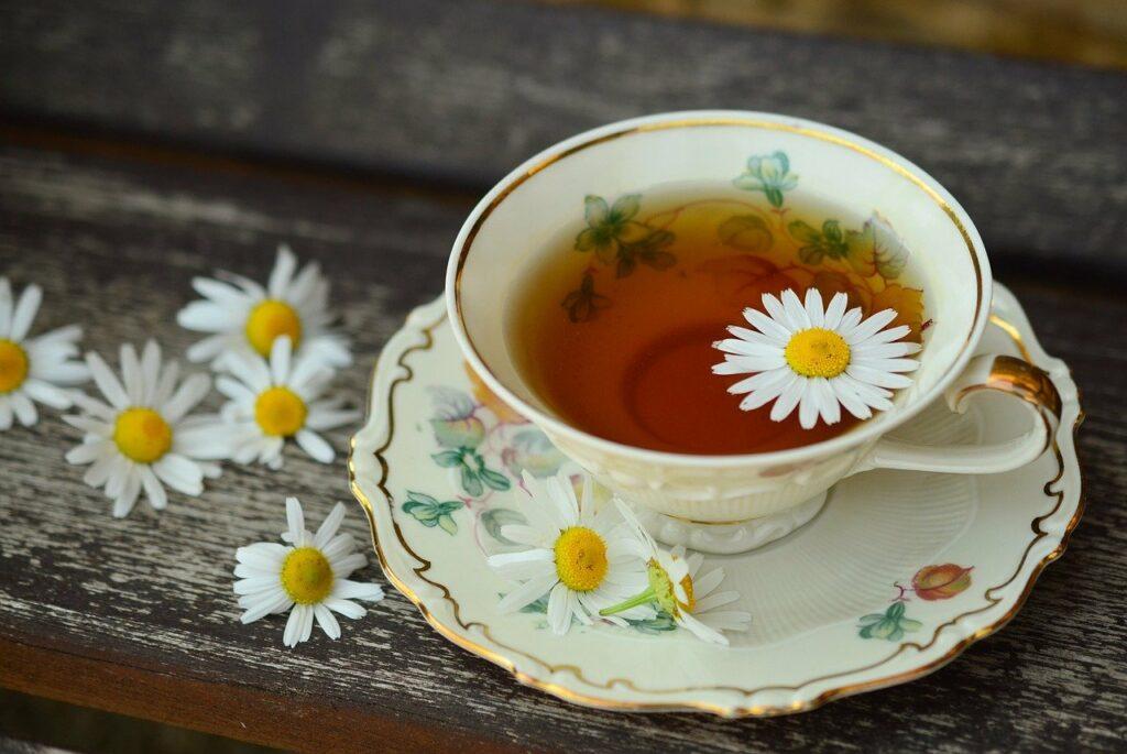 Filiżanka domowej herbaty z kwiatem rumianku